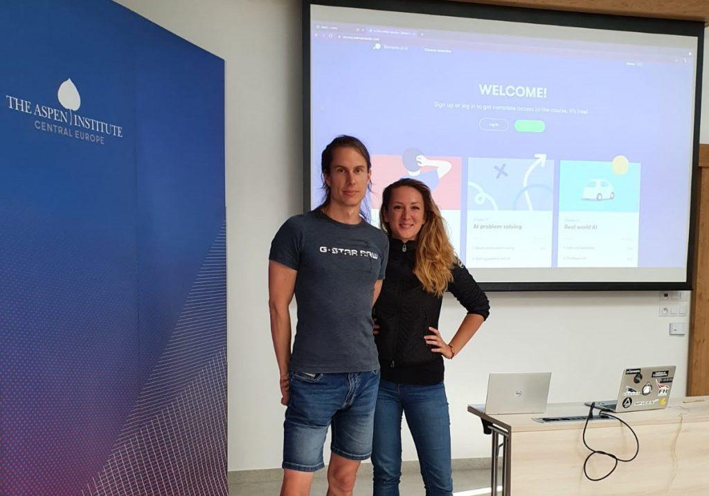 The Elements of AI workshop was led by Sara Polak and Tomáš Mikolov
